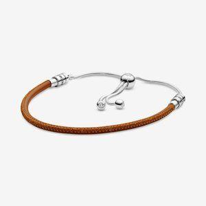 Pandora  Golden Tan Leather Slider Bracelet